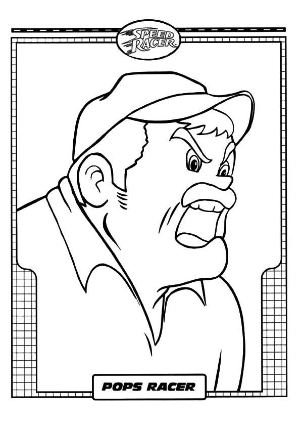 Speed Racer, : Pops Racer is Angry Speed Racer Coloring Pages