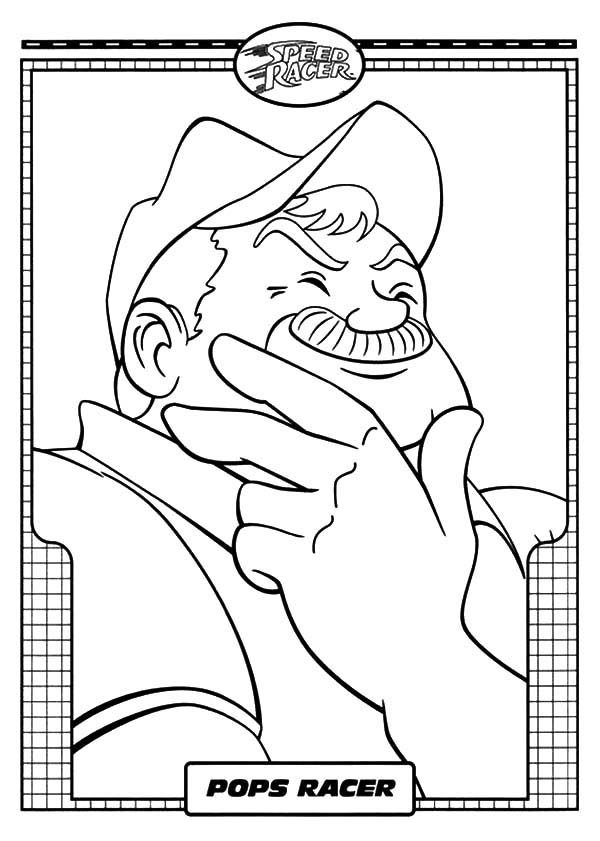 Speed Racer, : Pops Racer is Happy in Speed Racer Coloring Pages