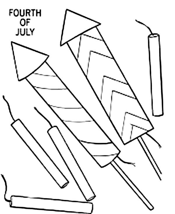 Independence Day, : Preparing Fireworks and Firecracker for 4th July Independence Day Coloring Page
