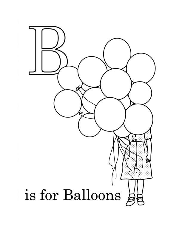 Letter B, : Preschool Kids Learn Letter B for Balloon Coloring Page