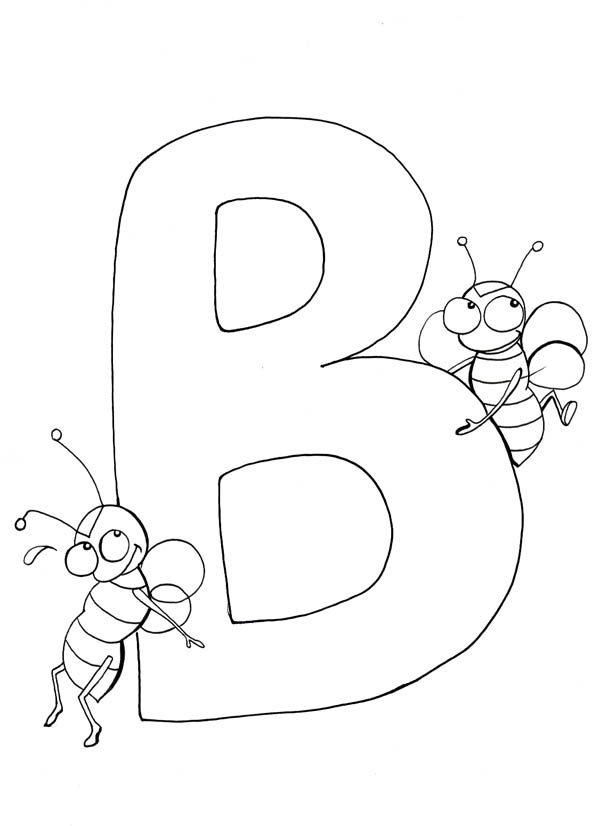 Letter B Coloring Pages For Preschoolers : Preschool kids learn letter b for bee coloring page best