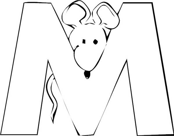 Letter M, : Preschool Kids Learn Letter M for Mouse Coloring Page