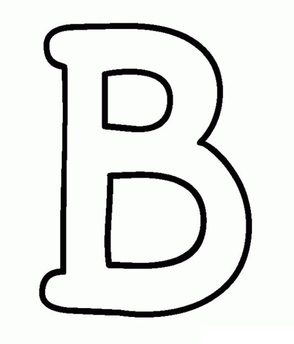 Letter B, : Preschool Kids Learning Letter B Coloring Page