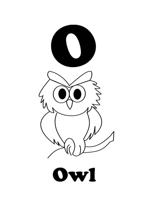Letter O, : Preschool Kids Learning Owl for Letter O Coloring Page