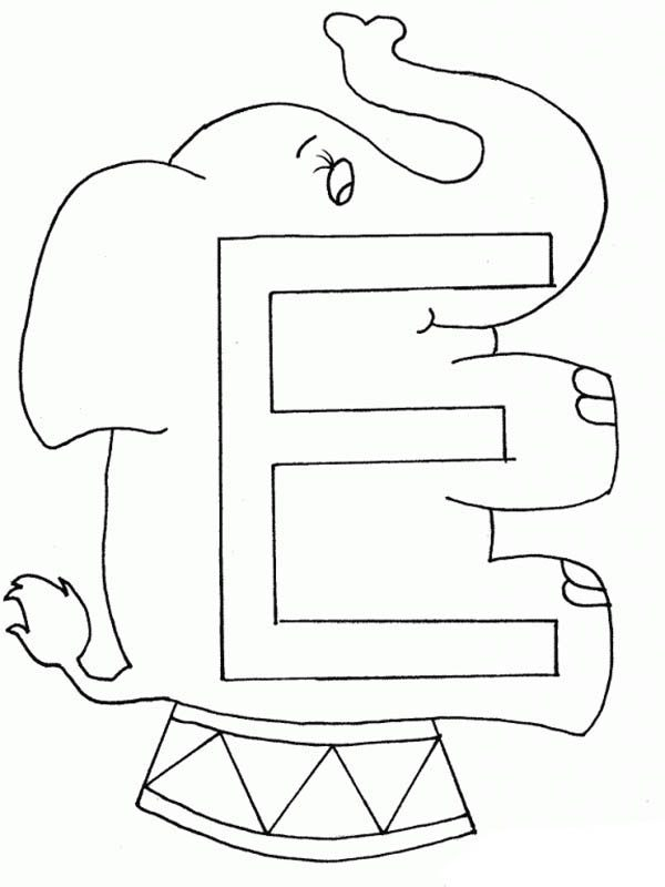 Letter E, : Preschool Learning Letter E Coloring Page