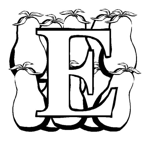 Letter E, : Preschool Learning Letter E for Eggplant Coloring Page