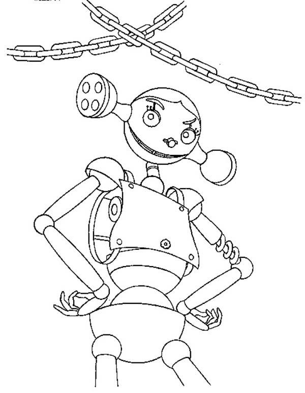 Robots, : Pretty Robot in the Club Coloring Pages