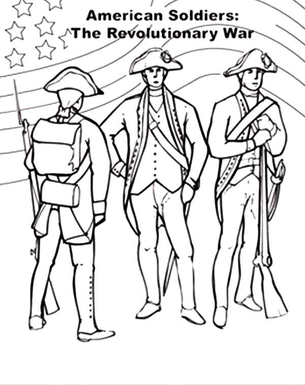 Independence Day, : Revolutionary War for 4th July Independence Day Coloring Page