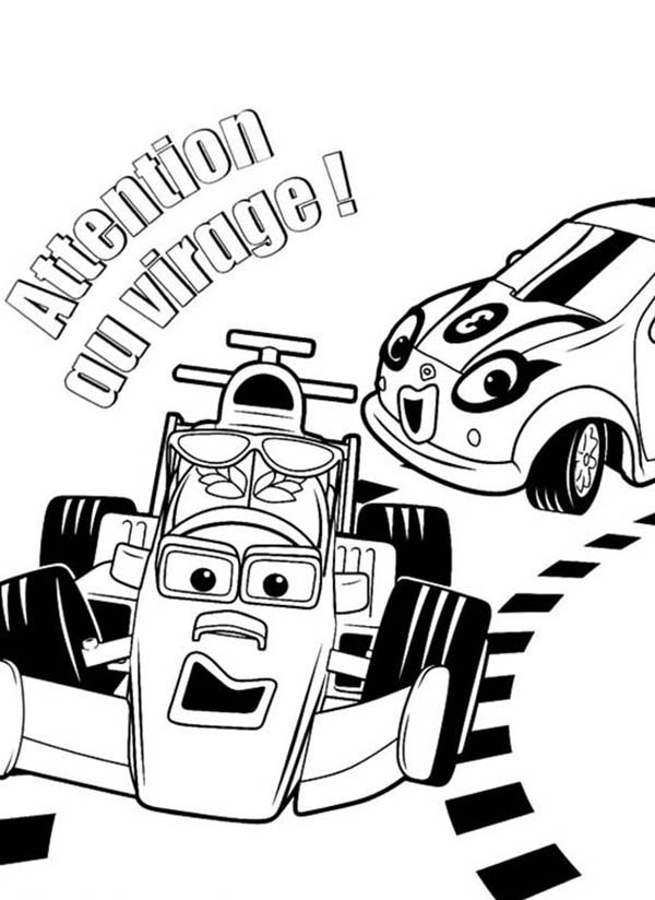 Roary the Racing Car, : Roary the Racing Car Won the Race with Cici Coloring Pages