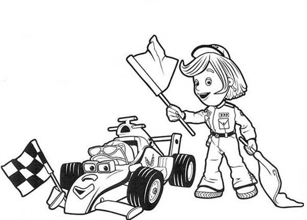 Roary the Racing Car, : Roary the Racing and Marsha Holding Race Flag Car Coloring Pages