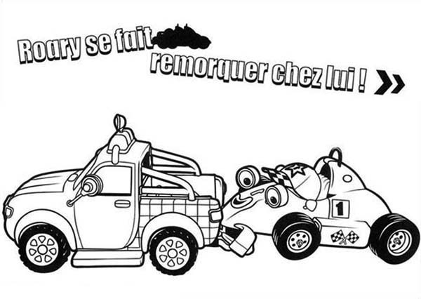Roary the Racing Car, : Roary was Towed Home in Roary the Racing Car Coloring Pages