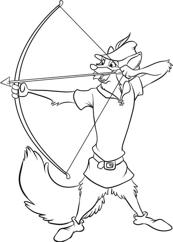 Robin Hood, : Robin Hood Aim for Target Coloring Pages