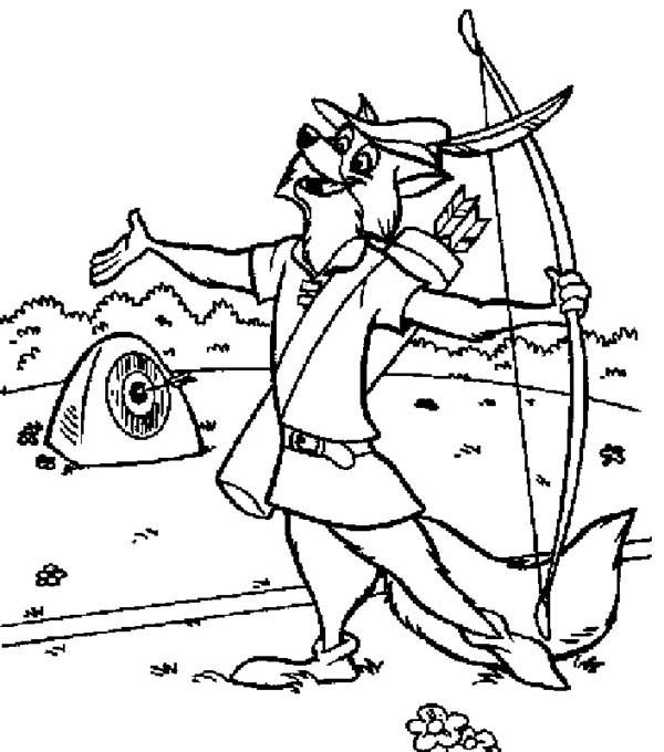 Robin Hood, : Robin Hood Bulls Eye the hard Target Coloring Pages