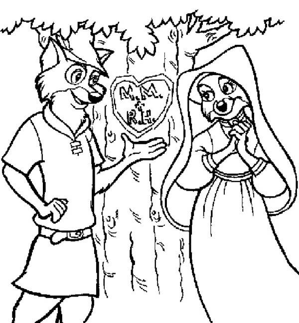 Robin Hood Carving His Love on a Tree Coloring Pages Best Place