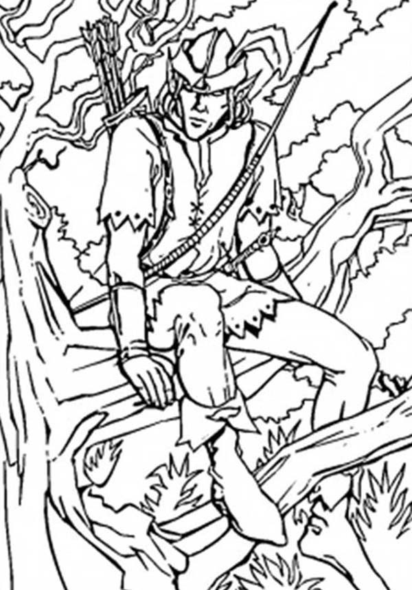 Robin Hood, : Robin Hood Sitting on Tree Branch Coloring Pages