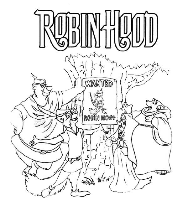 Robin Hood, : Robin Hood Wanted Poster Coloring Pages