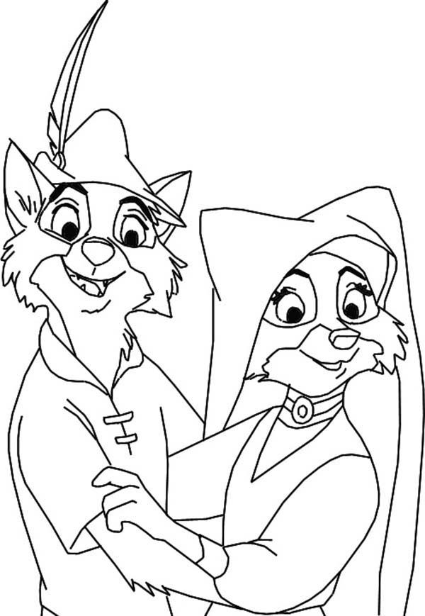 Robin Hood, : Robin Hood and Lady Marian Coloring Pages