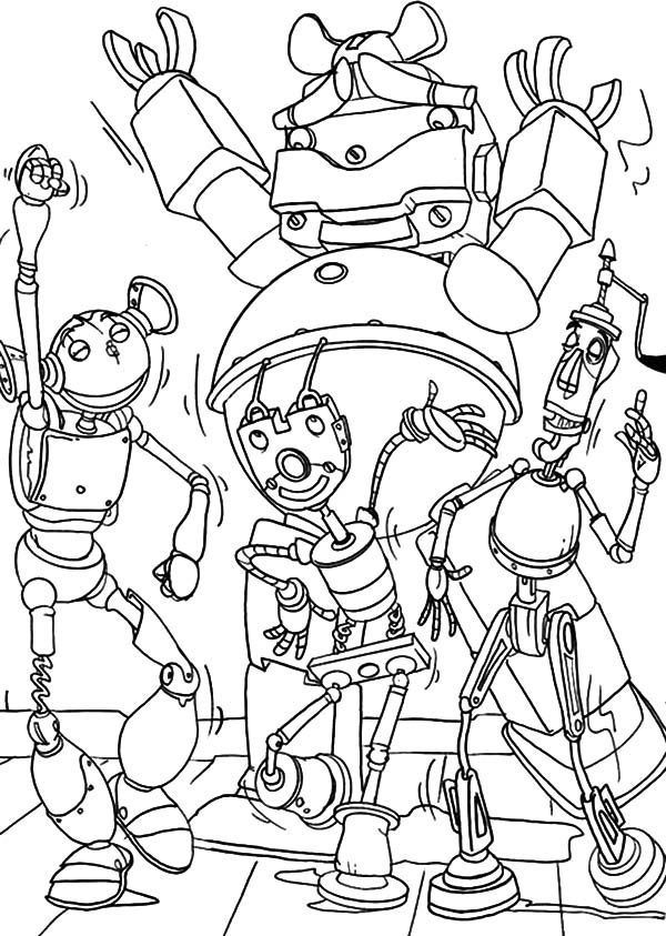 Robots, : Robot Dancing on the Dance Floor Coloring Pages