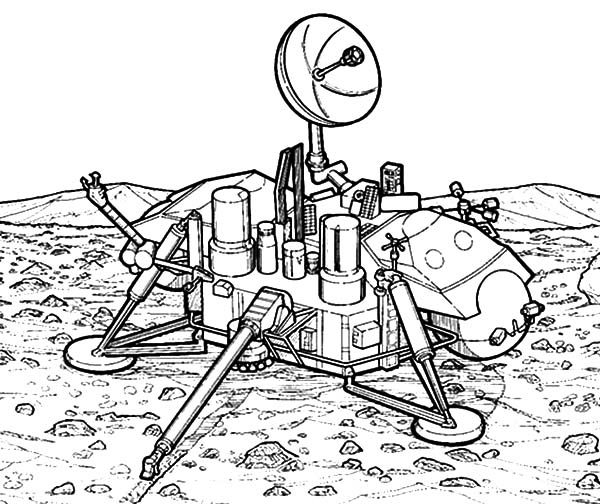 Space Travel, : Robot Explorer Land on Moon Space Travel Coloring Pages