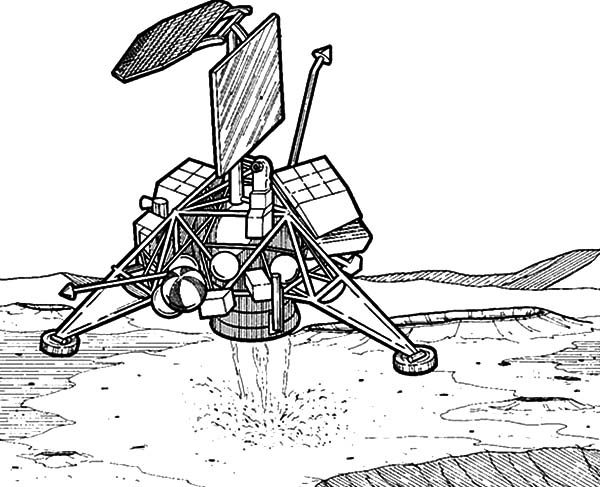 Space Travel, : Robot Explorer Landing Space Travel Coloring Pages