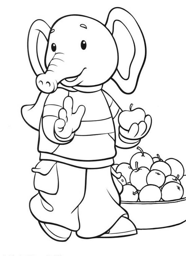 Rupert Bear, : Rupert Bear Friend Edward Trunk Take One Apple Coloring Pages