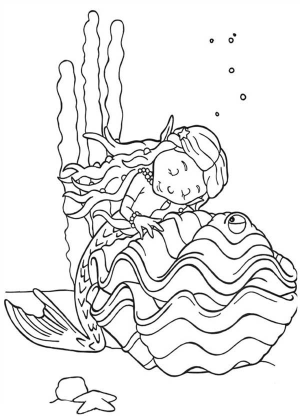 Rupert Bear, : Rupert Bear Friend Little Mermaid Fall Asleep on a Clamps Coloring Pages