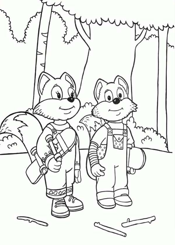 Rupert Bear, : Rupert Bear Friends Freddie and Ferdy the Fox Coloring Pages