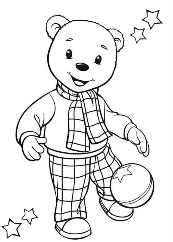 Rupert Bear, : Rupert Bear Kicking Football Coloring Pages