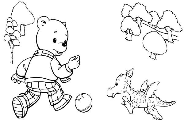 Rupert Bear, : Rupert Bear Meet Ming the Dragon Coloring Pages