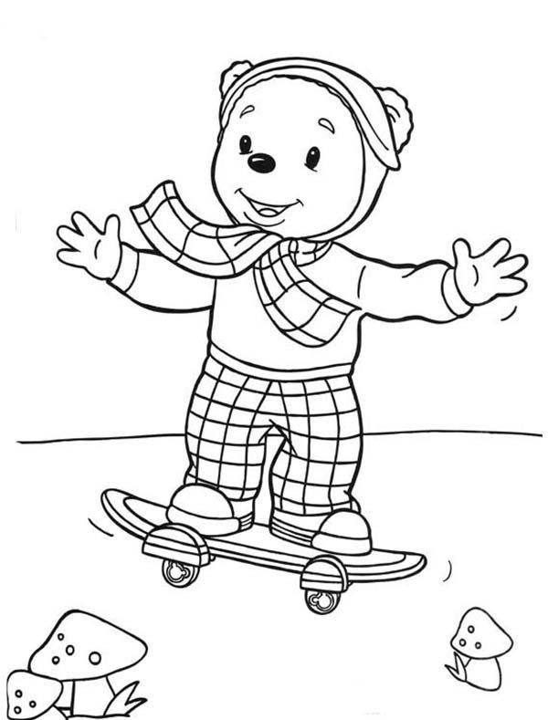 Rupert Bear, : Rupert Bear Skateboarding Coloring Pages