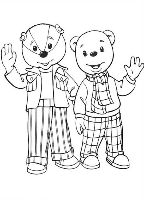 Rupert Bear, : Rupert Bear and Bill Badger Waving Their Hand Coloring Pages
