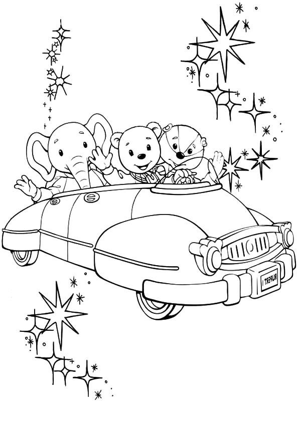 Rupert Bear, : Rupert Bear and Friends Riding a Car Coloring Pages