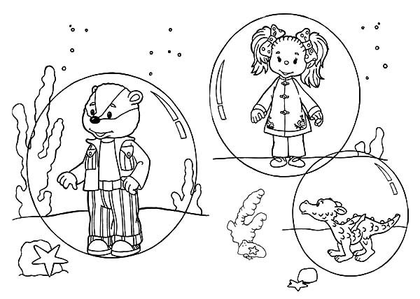 Rupert Bear, : Rupert Bear and Friends Under the Sea Coloring Pages