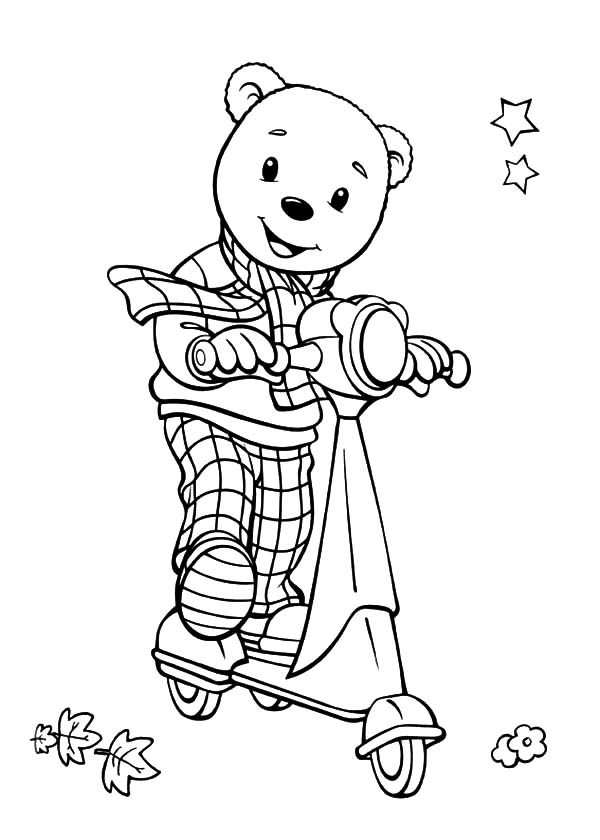 Rupert Bear, : Rupert Bear and His Scooter Coloring Pages