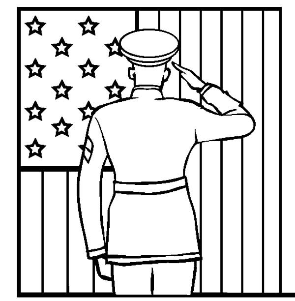 Patriots Day, : Salute the Flag Patriots Day Coloring Pages