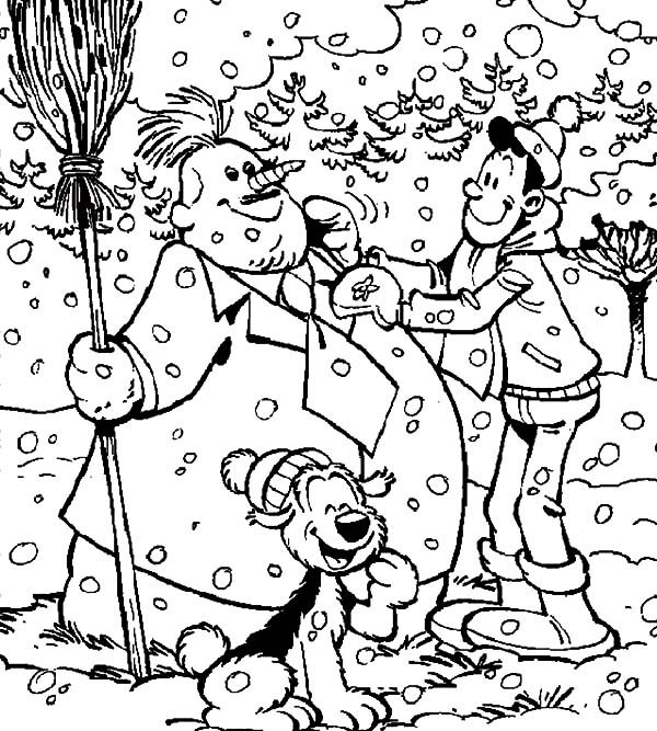 Samson and Gert, : Samson and Gert Making Fat Snowman Coloring Pages