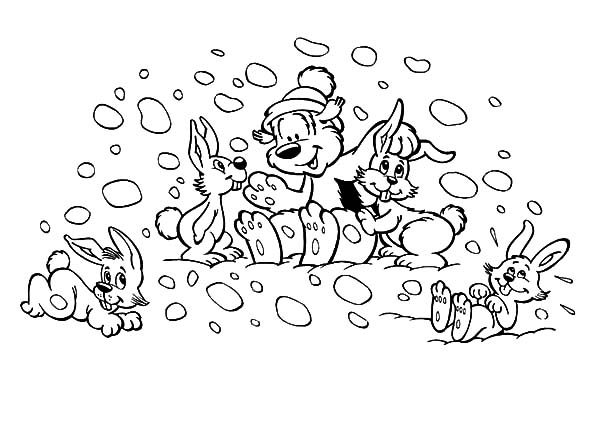 Samson and Gert, : Samson and Gert Playing on the Snow with Friends Coloring Pages