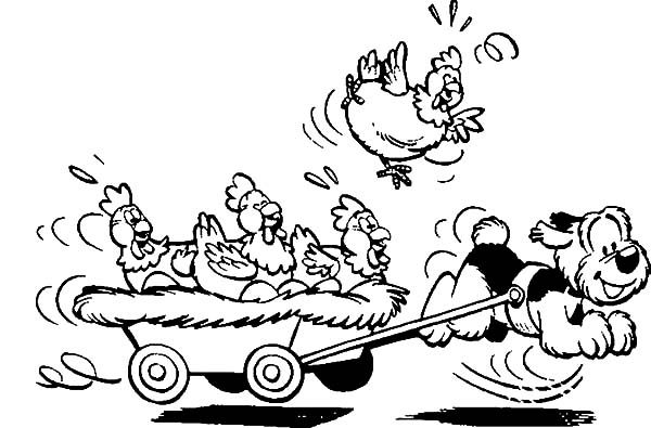Samson and Gert, : Samson and Gert Pulling Cart Full of Chickens Coloring Pages
