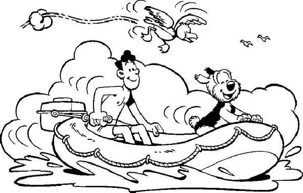 Samson and Gert, : Samson and Gert Ride Lifeboats  Coloring Pages