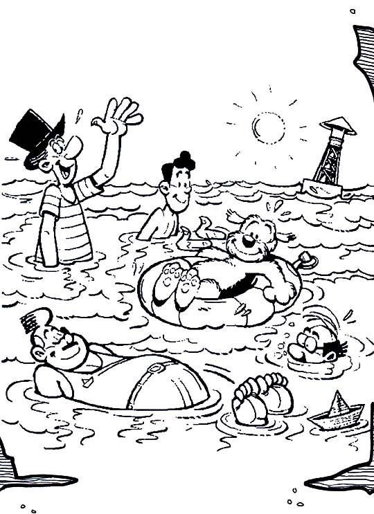 Samson and Gert, : Samson and Gert Swimming in the Beach  Coloring Pages