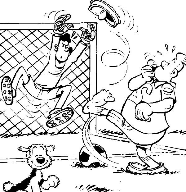 Samson and Gert, : Samson and Gert Taking Penalty Kick Coloring Pages