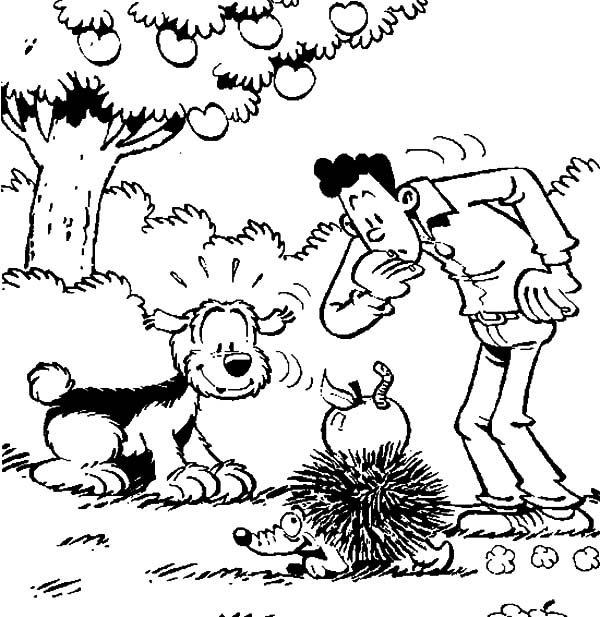 Samson and Gert, : Samson and Gert Watching a Hedgehog Coloring Pages