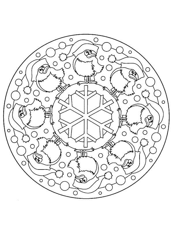 Christmas Mandala, : Santa Claus Mandala Christmas Coloring Pages