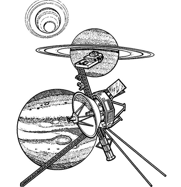 Space Travel, : Satellite and Planets Space Travel Coloring Pages