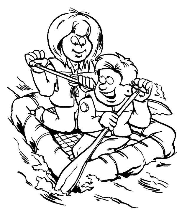 Scouting, : Scouting Activity on Lifeboats Coloring Pages