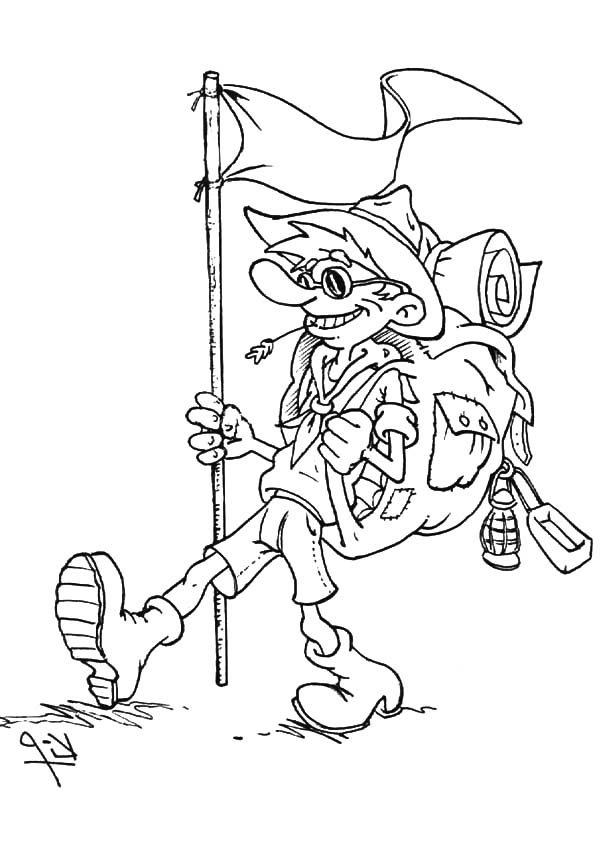 Scouting, : Scouting Boy Go Camping Coloring Pages