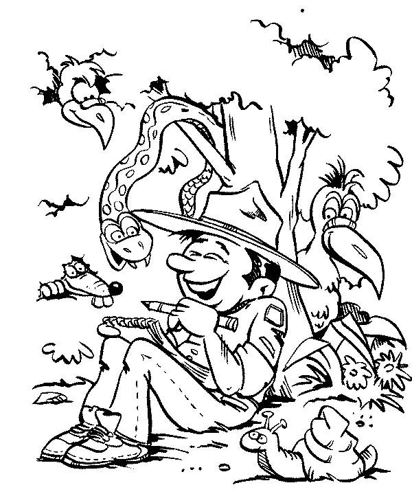 Scouting, : Scouting Boy Having Fun with Wild Life Coloring Pages