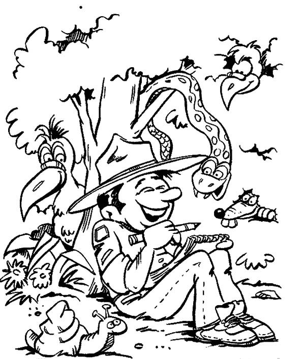 Scouting, : Scouting Boy is Making Friend with Wild Animals Coloring Pages