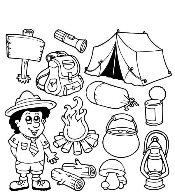 Scouting, : Scouting Equipment Coloring Pages
