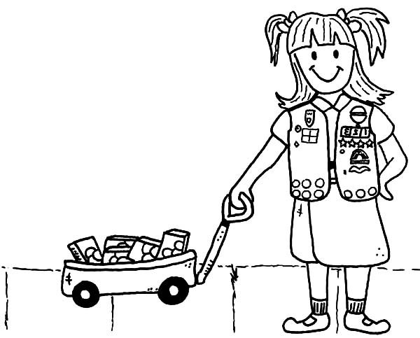 Scouting, : Scouting Girl Sell Cookies Coloring Pages
